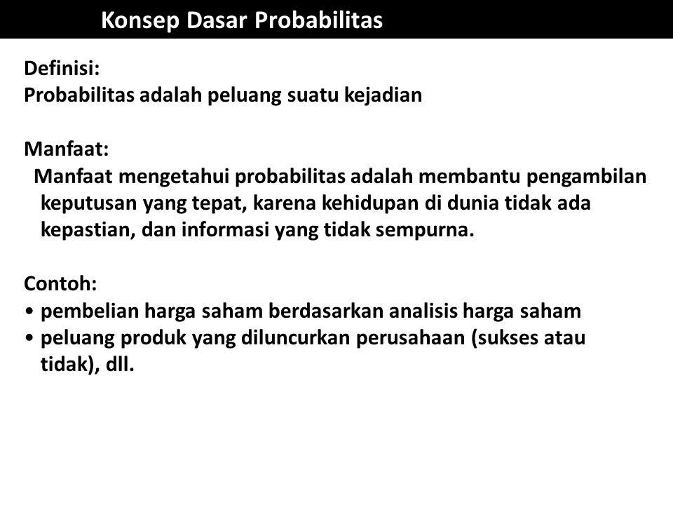 Konsep Dasar Probabilitas Definisi: Probabilitas adalah peluang suatu kejadian Manfaat: Manfaat mengetahui probabilitas adalah membantu pengambilan ke