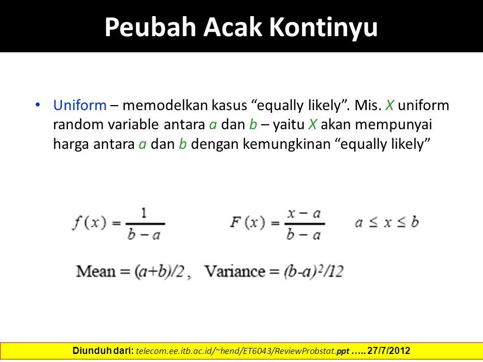 """Peubah Acak Kontinyu Uniform – memodelkan kasus """"equally likely"""". Mis. X uniform random variable antara a dan b – yaitu X akan mempunyai harga antara"""