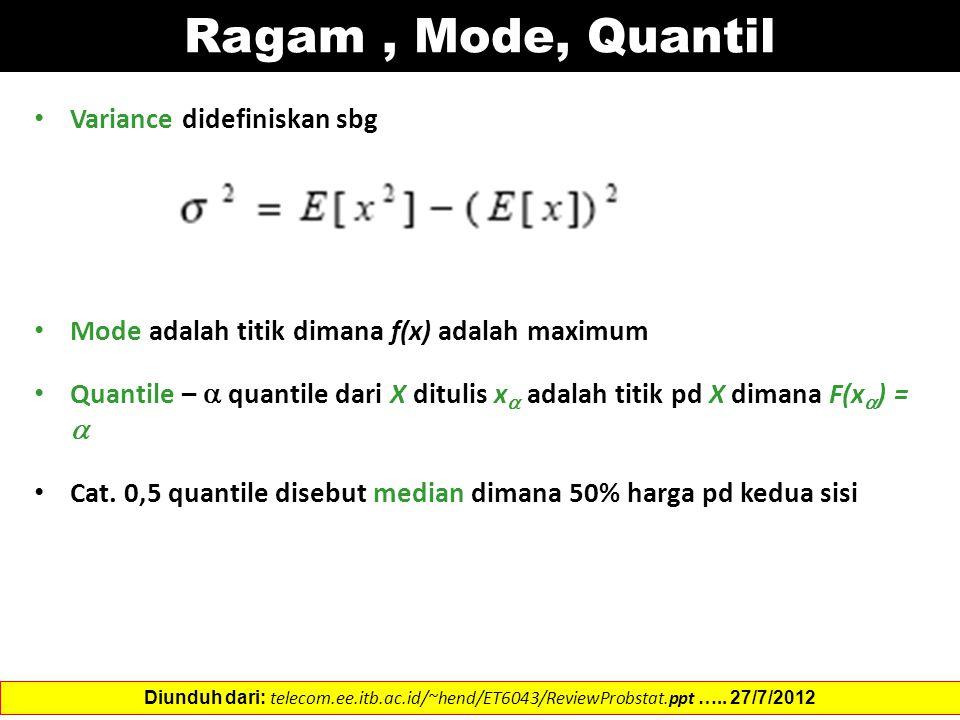 Ragam, Mode, Quantil Variance didefiniskan sbg Mode adalah titik dimana f(x) adalah maximum Quantile –  quantile dari X ditulis x  adalah titik pd X dimana F(x  ) =  Cat.