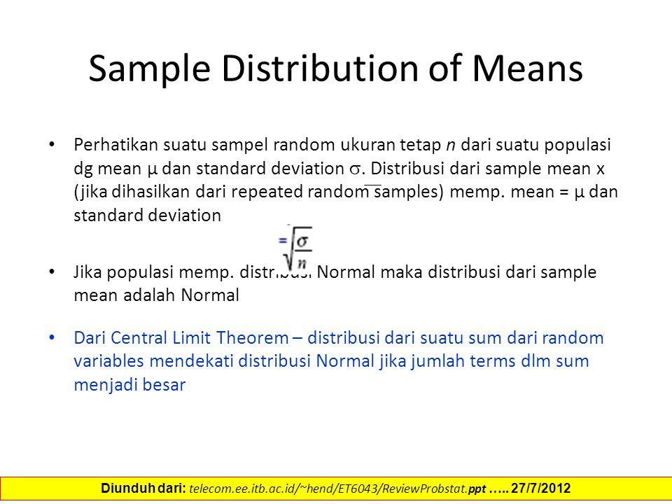 Sample Distribution of Means Perhatikan suatu sampel random ukuran tetap n dari suatu populasi dg mean µ dan standard deviation . Distribusi dari sam