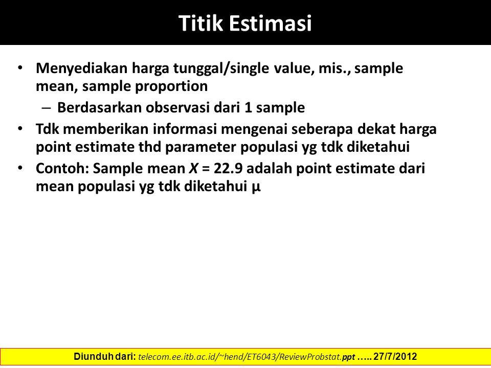 Titik Estimasi Menyediakan harga tunggal/single value, mis., sample mean, sample proportion – Berdasarkan observasi dari 1 sample Tdk memberikan informasi mengenai seberapa dekat harga point estimate thd parameter populasi yg tdk diketahui Contoh: Sample mean X = 22.9 adalah point estimate dari mean populasi yg tdk diketahui µ Diunduh dari: telecom.ee.itb.ac.id/~hend/ET6043/ReviewProbstat.ppt …..