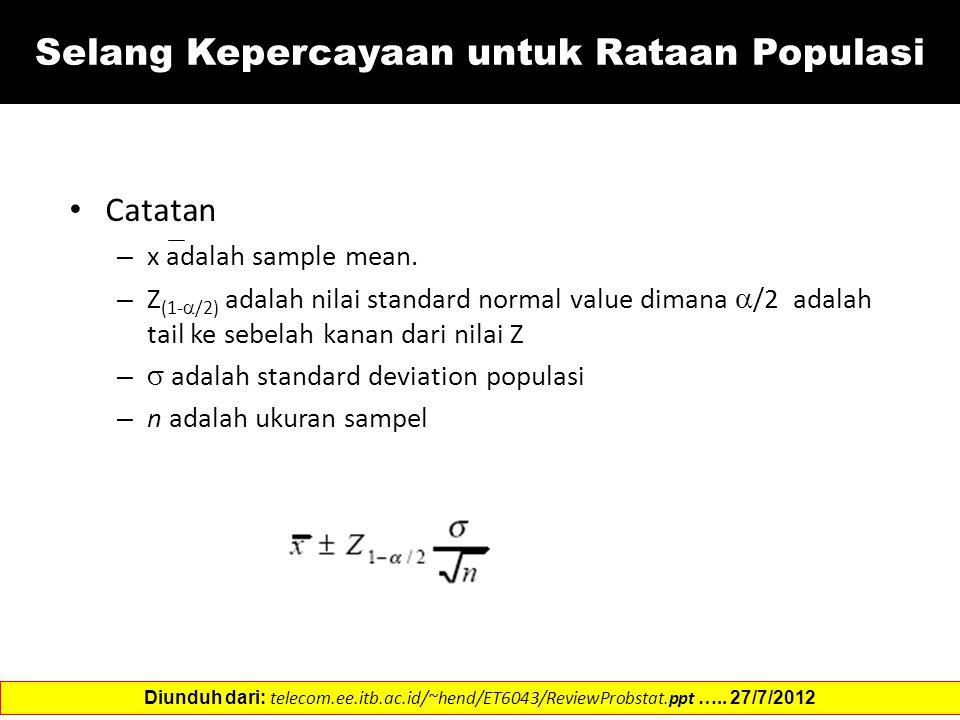 Catatan – x adalah sample mean. – Z (1-  /2) adalah nilai standard normal value dimana  /2 adalah tail ke sebelah kanan dari nilai Z –  adalah stan