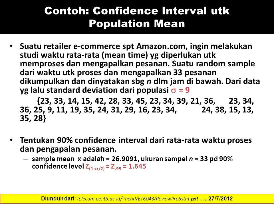 Contoh: Confidence Interval utk Population Mean Suatu retailer e-commerce spt Amazon.com, ingin melakukan studi waktu rata-rata (mean time) yg diperlukan utk memproses dan mengapalkan pesanan.