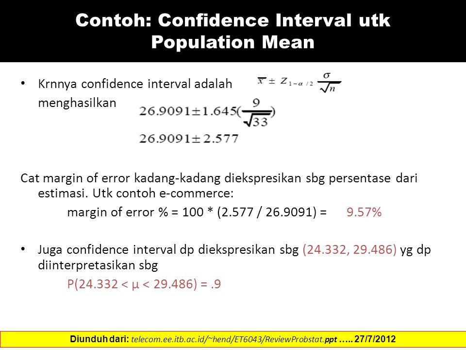 Contoh: Confidence Interval utk Population Mean Krnnya confidence interval adalah menghasilkan Cat margin of error kadang-kadang diekspresikan sbg persentase dari estimasi.
