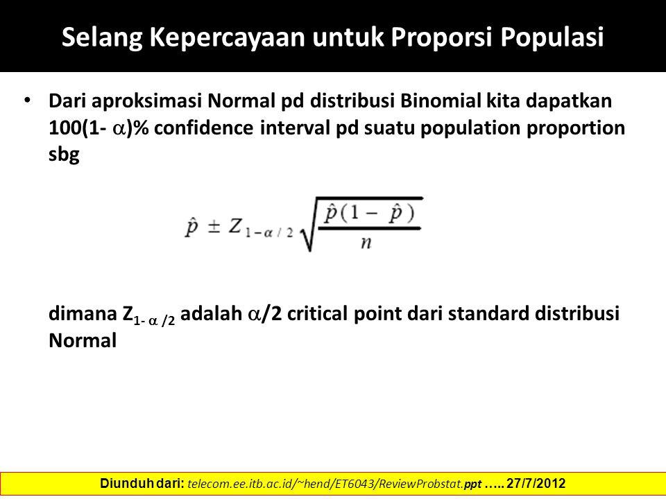 Selang Kepercayaan untuk Proporsi Populasi Dari aproksimasi Normal pd distribusi Binomial kita dapatkan 100(1-  )% confidence interval pd suatu population proportion sbg dimana Z 1-  /2 adalah  /2 critical point dari standard distribusi Normal Diunduh dari: telecom.ee.itb.ac.id/~hend/ET6043/ReviewProbstat.ppt …..