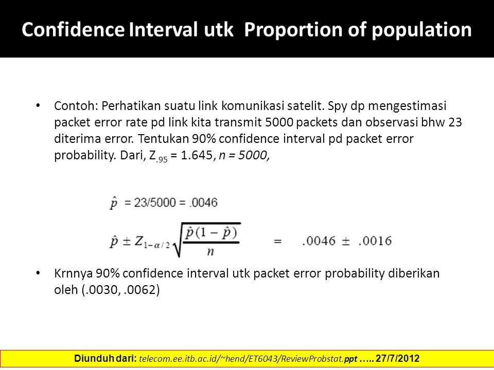 Confidence Interval utk Proportion of population Contoh: Perhatikan suatu link komunikasi satelit. Spy dp mengestimasi packet error rate pd link kita