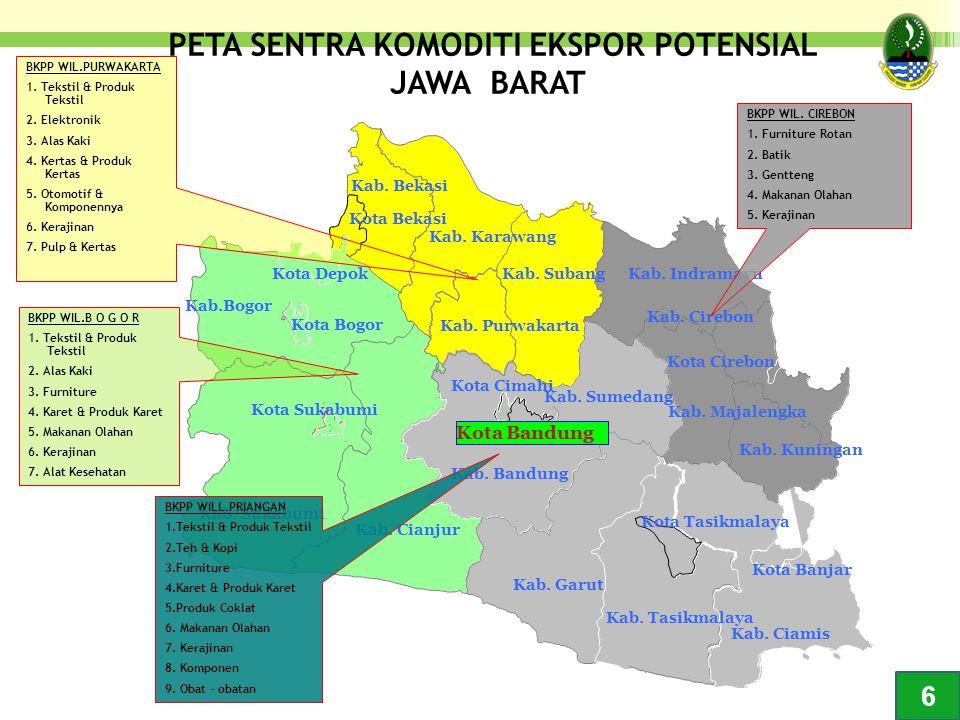PERKEMBANGAN EKONOMI JAWA BARAT: Pertumbuhan ekonomi cukup tinggi, tapi sektor nontradable (jasa) tumbuh lebih cepat Pertumbuhan Ekonomi Jabar dan Indonesia Pertumbuhan Sektor Tradable (Pertanian & Industri) dan Nontradable (Jasa & Perdag) Jabar 7 7