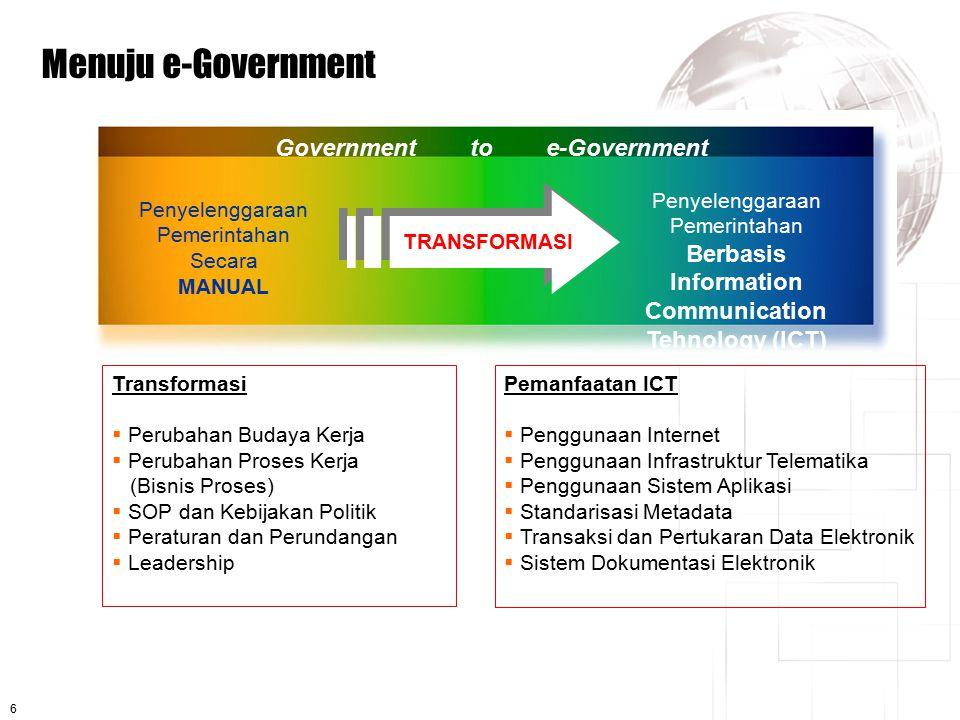 6 Menuju e-Government Penyelenggaraan Pemerintahan Secara MANUAL Penyelenggaraan Pemerintahan Berbasis Information Communication Tehnology (ICT) TRANS