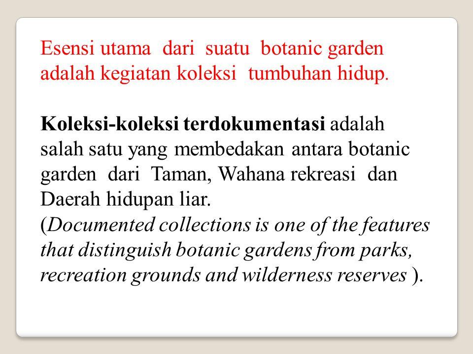 Esensi utama dari suatu botanic garden adalah kegiatan koleksi tumbuhan hidup. Koleksi-koleksi terdokumentasi adalah salah satu yang membedakan antara
