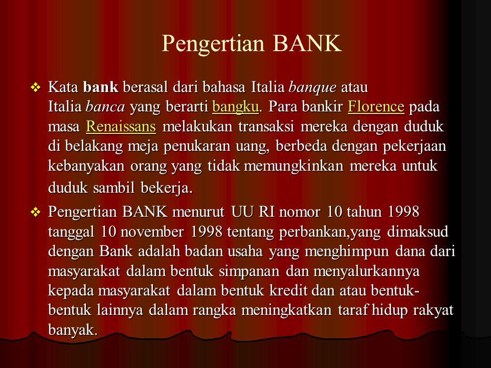 Jenis-jenis Bank Jenis-jenis Bank  Dilihat dari segi fungsinya :  Menurut UU pokok perbankan Nomor 14 tahun 1967 jenis perbankan menurut fungsinya terdiri dari:  Bank umum  Bank pembangunan  Bank Tabungan  Bank Pasar  Bank Desa  Lumbung Desa  Bank Pegawai DLL