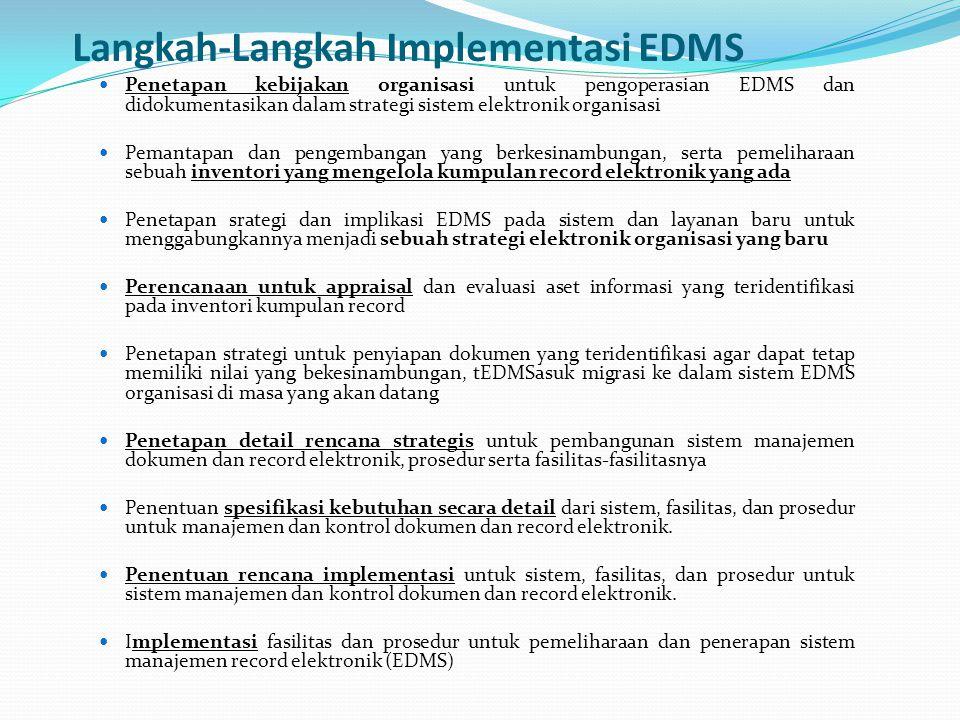 Langkah-Langkah Implementasi EDMS Penetapan kebijakan organisasi untuk pengoperasian EDMS dan didokumentasikan dalam strategi sistem elektronik organi