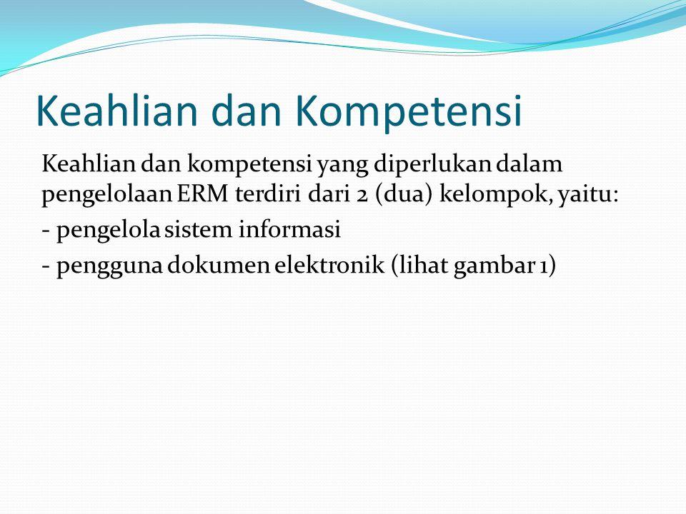 Keahlian dan Kompetensi Keahlian dan kompetensi yang diperlukan dalam pengelolaan ERM terdiri dari 2 (dua) kelompok, yaitu: - pengelola sistem informa