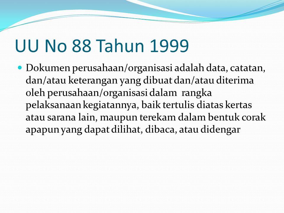UU No 88 Tahun 1999 Dokumen perusahaan/organisasi adalah data, catatan, dan/atau keterangan yang dibuat dan/atau diterima oleh perusahaan/organisasi d