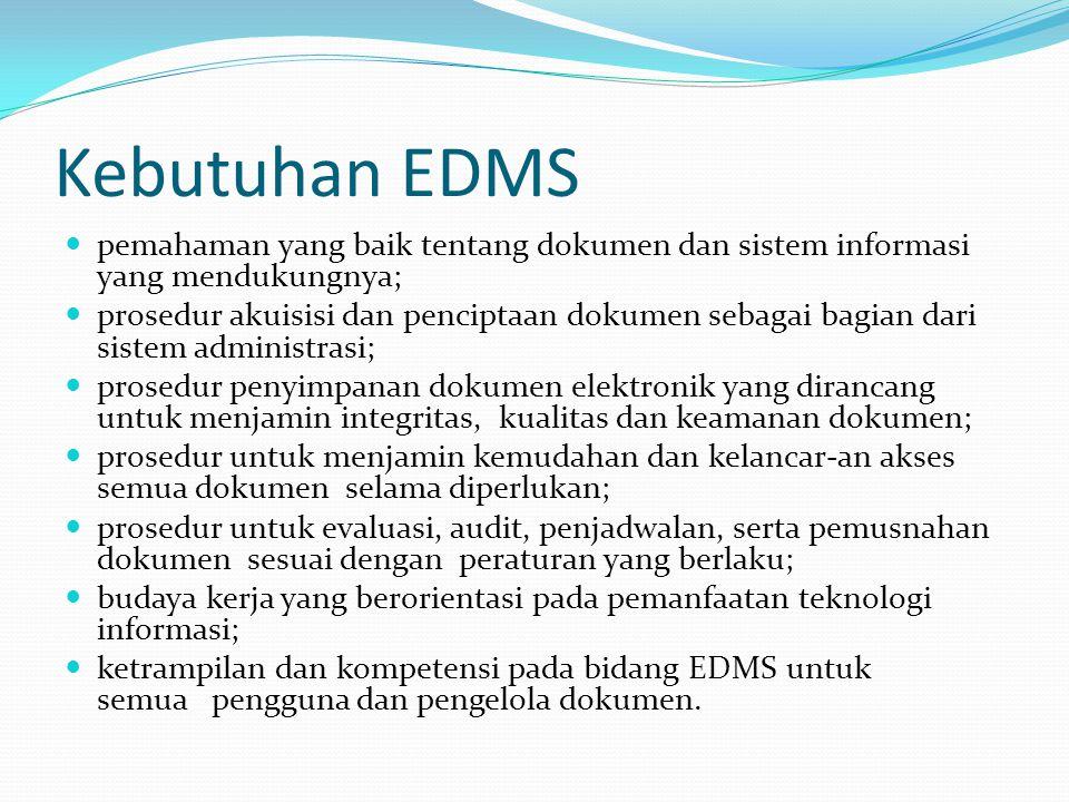 Kebutuhan EDMS pemahaman yang baik tentang dokumen dan sistem informasi yang mendukungnya; prosedur akuisisi dan penciptaan dokumen sebagai bagian dar