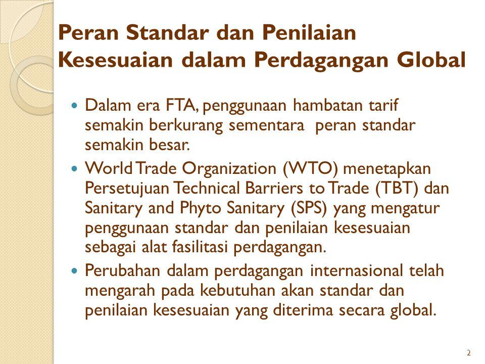 Peran Standar dan Penilaian Kesesuaian dalam Perdagangan Global Dalam era FTA, penggunaan hambatan tarif semakin berkurang sementara peran standar sem