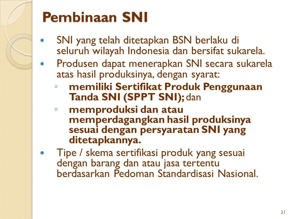 Pembinaan SNI SNI yang telah ditetapkan BSN berlaku di seluruh wilayah Indonesia dan bersifat sukarela. Produsen dapat menerapkan SNI secara sukarela