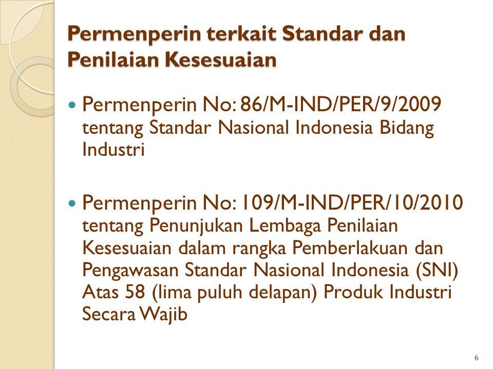 Permenperin terkait Standar dan Penilaian Kesesuaian Permenperin No: 86/M-IND/PER/9/2009 tentang Standar Nasional Indonesia Bidang Industri Permenperi