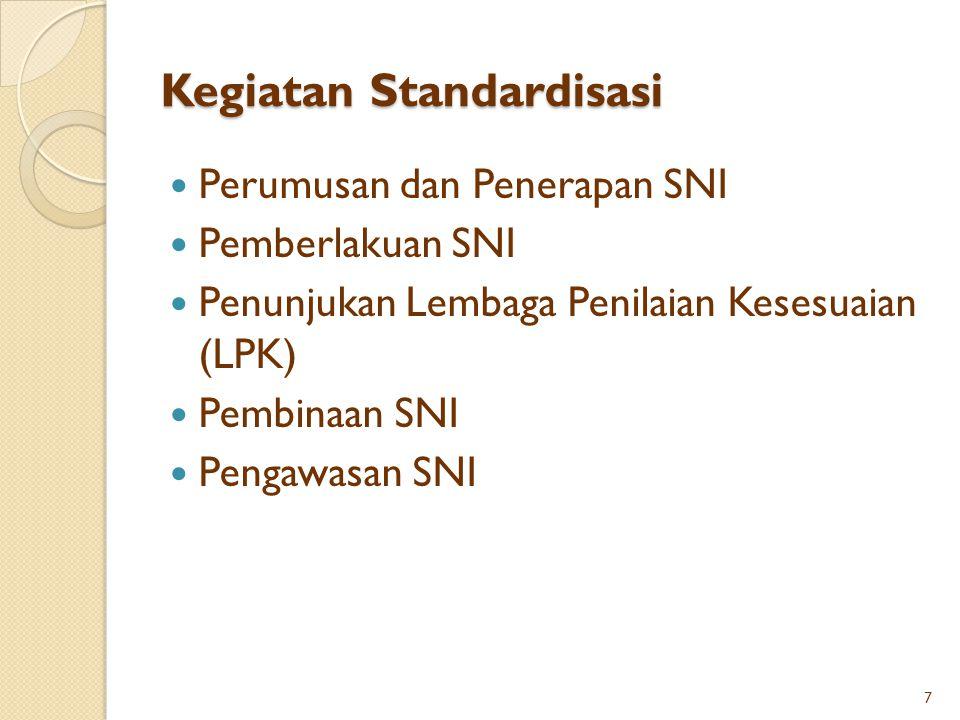 Kegiatan Standardisasi Perumusan dan Penerapan SNI Pemberlakuan SNI Penunjukan Lembaga Penilaian Kesesuaian (LPK) Pembinaan SNI Pengawasan SNI 7