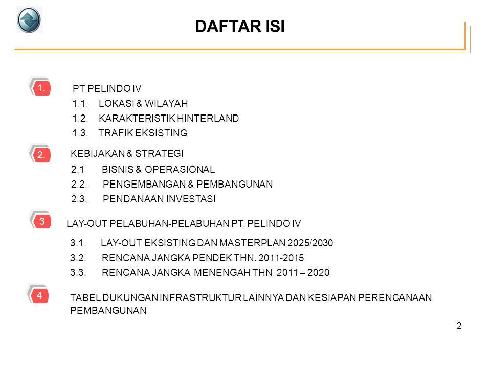 DAFTAR ISI 2 1.1. LOKASI & WILAYAH 1.2. KARAKTERISTIK HINTERLAND 1.3. TRAFIK EKSISTING PT PELINDO IV 1. KEBIJAKAN & STRATEGI 2.1BISNIS & OPERASIONAL 2