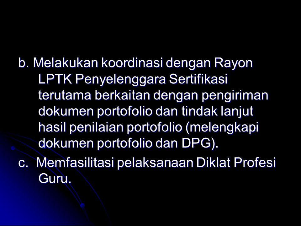 C) mengkomunikasikan dan mengkoordinasikan peserta yang harus melakukan kegiatan-kegiatan untuk melengkapi dokumen portofolio, selanjutnya diserahkan kembali ke Rayon LPTK, d) mengkomunikasikan dan mengkoordinasikan peserta yang harus mengikuti DPG.
