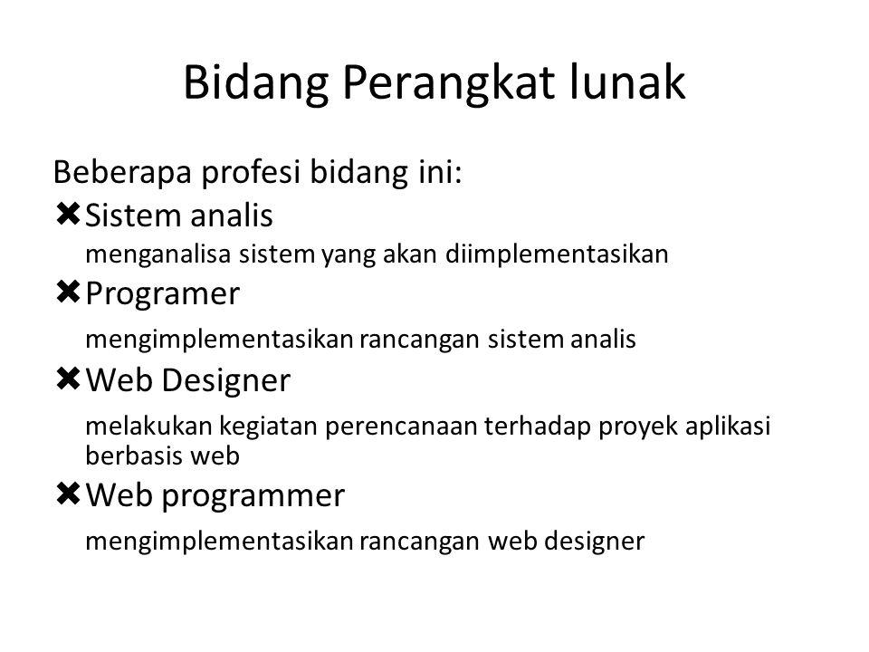 Bidang Perangkat lunak Beberapa profesi bidang ini:  Sistem analis menganalisa sistem yang akan diimplementasikan  Programer mengimplementasikan ran