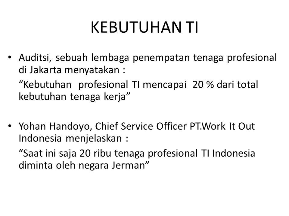 """KEBUTUHAN TI Auditsi, sebuah lembaga penempatan tenaga profesional di Jakarta menyatakan : """"Kebutuhan profesional TI mencapai 20 % dari total kebutuha"""