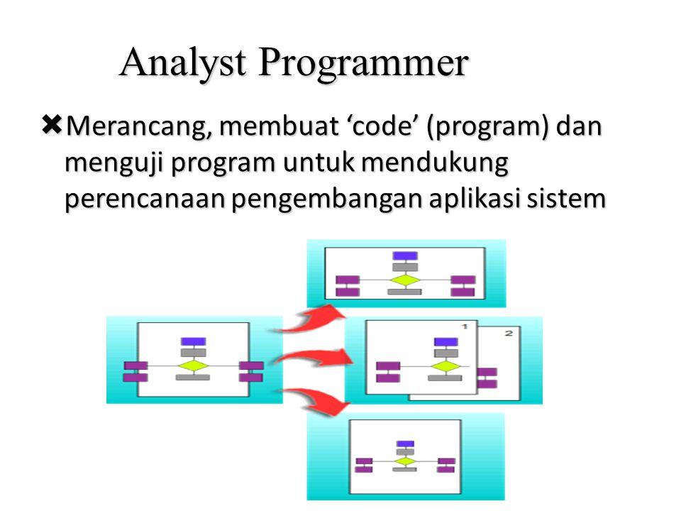 Analyst Programmer  Merancang, membuat 'code' (program) dan menguji program untuk mendukung perencanaan pengembangan aplikasi sistem