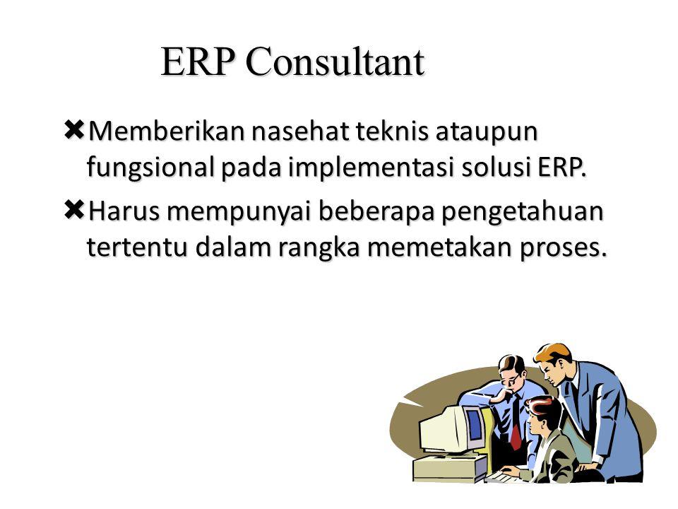 ERP Consultant  Memberikan nasehat teknis ataupun fungsional pada implementasi solusi ERP.  Harus mempunyai beberapa pengetahuan tertentu dalam rang