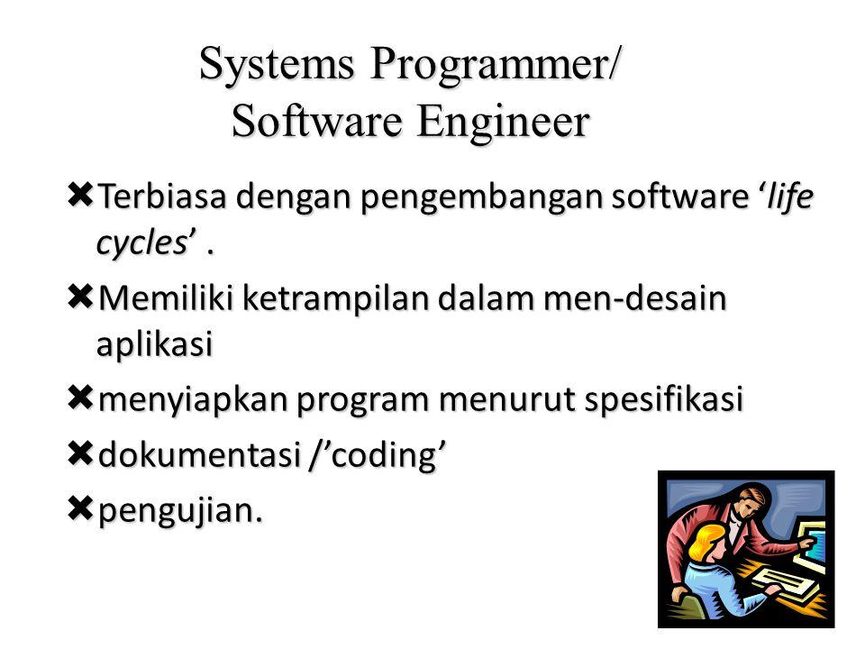 Systems Programmer/ Software Engineer  Terbiasa dengan pengembangan software 'life cycles'.  Memiliki ketrampilan dalam men-desain aplikasi  menyia