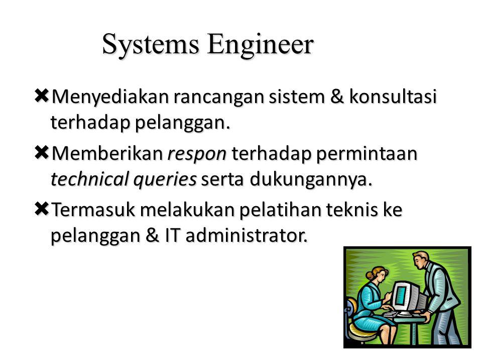 Systems Engineer  Menyediakan rancangan sistem & konsultasi terhadap pelanggan.  Memberikan respon terhadap permintaan technical queries serta dukun