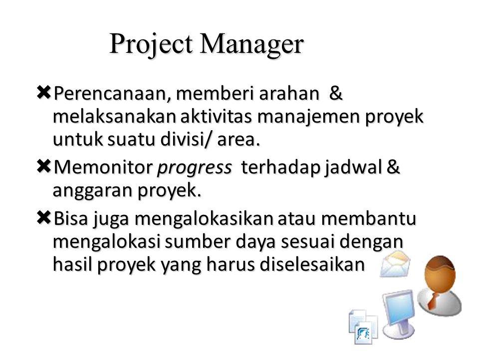 Project Manager  Perencanaan, memberi arahan & melaksanakan aktivitas manajemen proyek untuk suatu divisi/ area.  Memonitor progress terhadap jadwal