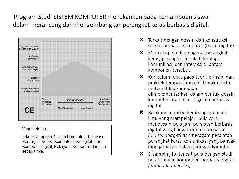 Program Studi SISTEM KOMPUTER menekankan pada kemampuan siswa dalam merancang dan mengembangkan perangkat keras berbasis digital.  Terkait dengan des