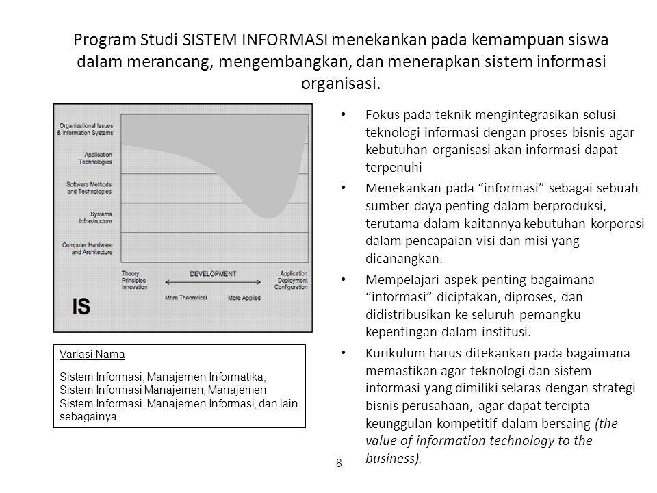 8 Program Studi SISTEM INFORMASI menekankan pada kemampuan siswa dalam merancang, mengembangkan, dan menerapkan sistem informasi organisasi. Fokus pad