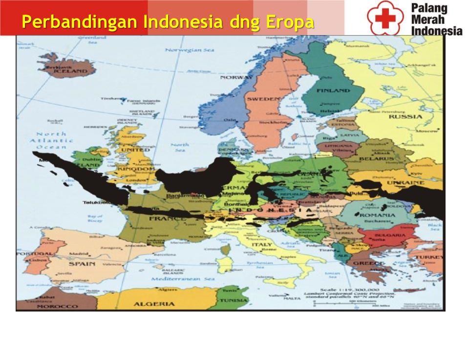Total area 5.2 juta km2 1.9 juta km2 darat 3.3 juta km2 lautan Jarak dari ujung barat ke ujung timur 5110 km Terdapat tiga zona waktu yang berbeda Pulau 17.583 Lebih dari 5800 sungai, 500 sungai besar dan 30% diantaranya melewati area populasi padat Gunung berapi 500, 128 aktif Geografi Indonesia