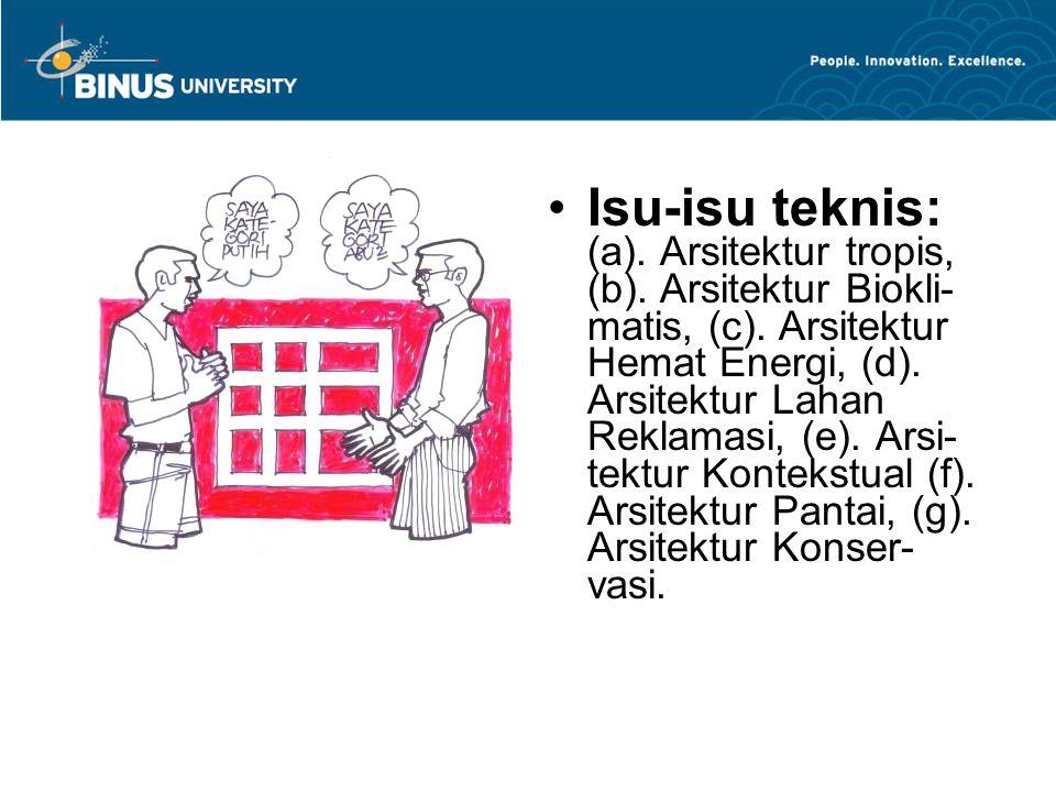 Isu-isu teknis: (a). Arsitektur tropis, (b). Arsitektur Biokli- matis, (c). Arsitektur Hemat Energi, (d). Arsitektur Lahan Reklamasi, (e). Arsi- tektu