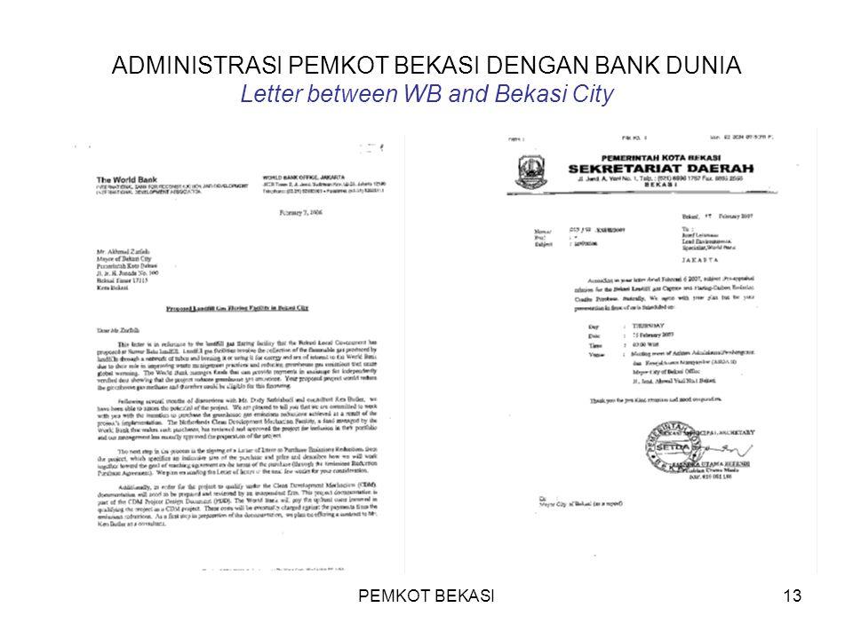 PEMKOT BEKASI13 ADMINISTRASI PEMKOT BEKASI DENGAN BANK DUNIA Letter between WB and Bekasi City