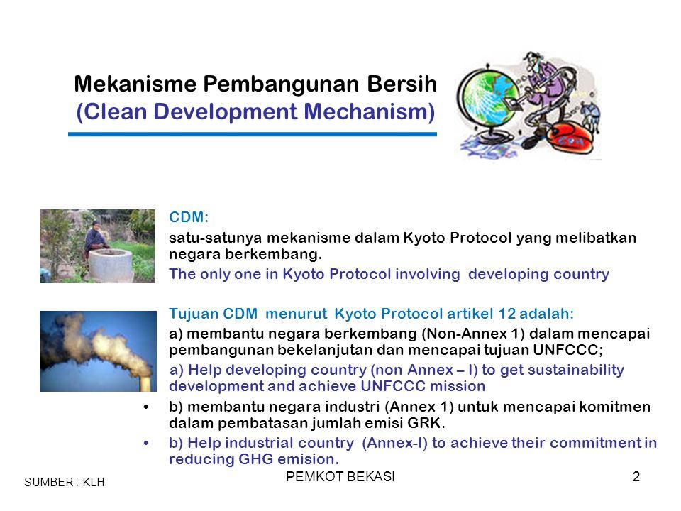PEMKOT BEKASI2 CDM: satu-satunya mekanisme dalam Kyoto Protocol yang melibatkan negara berkembang. The only one in Kyoto Protocol involving developing