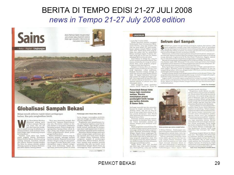 PEMKOT BEKASI29 BERITA DI TEMPO EDISI 21-27 JULI 2008 news in Tempo 21-27 July 2008 edition