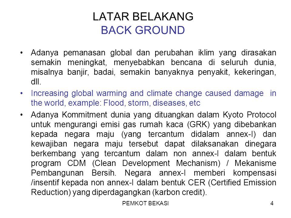 PEMKOT BEKASI15 Bank Dunia menunjuk Konsultan Environment Resources Management (ERM) untuk melaksanakan Study Kelayakan (FS).