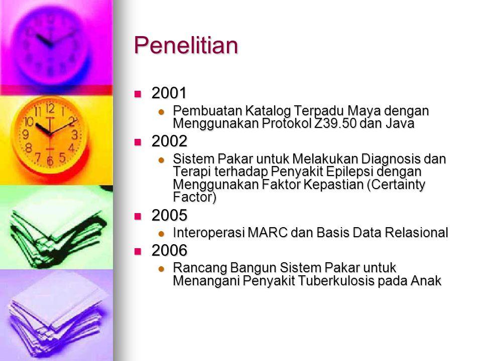 Penelitian 2001 2001 Pembuatan Katalog Terpadu Maya dengan Menggunakan Protokol Z39.50 dan Java Pembuatan Katalog Terpadu Maya dengan Menggunakan Protokol Z39.50 dan Java 2002 2002 Sistem Pakar untuk Melakukan Diagnosis dan Terapi terhadap Penyakit Epilepsi dengan Menggunakan Faktor Kepastian (Certainty Factor) Sistem Pakar untuk Melakukan Diagnosis dan Terapi terhadap Penyakit Epilepsi dengan Menggunakan Faktor Kepastian (Certainty Factor) 2005 2005 Interoperasi MARC dan Basis Data Relasional Interoperasi MARC dan Basis Data Relasional 2006 2006 Rancang Bangun Sistem Pakar untuk Menangani Penyakit Tuberkulosis pada Anak Rancang Bangun Sistem Pakar untuk Menangani Penyakit Tuberkulosis pada Anak