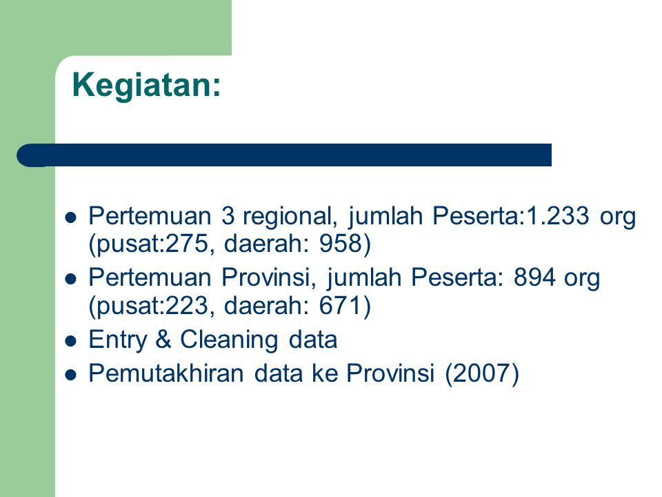 Kegiatan: Pertemuan 3 regional, jumlah Peserta:1.233 org (pusat:275, daerah: 958) Pertemuan Provinsi, jumlah Peserta: 894 org (pusat:223, daerah: 671)