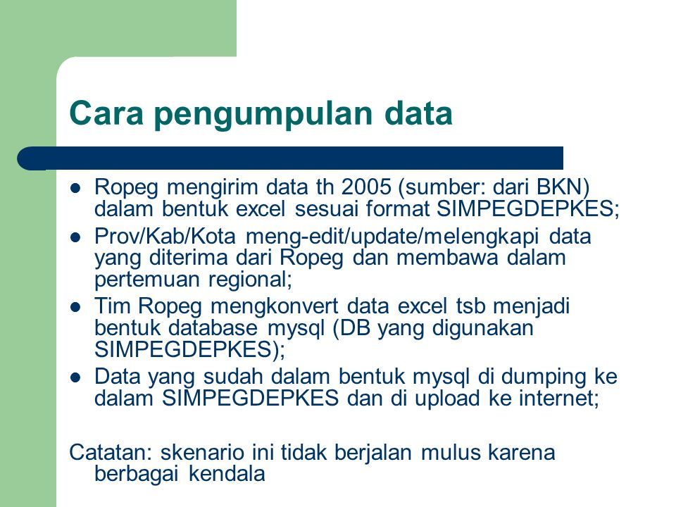 Updating data Updating data dilakukan oleh provinsi/ kab/kota ke dalam SIMPEGDEPKES secara on line melalui internet setelah mendapatkan acces code (user name dan password) dari Ropeg; SIMPEGDEPKES di tanam (attach) di alamat: www.simpegdepkes.net www.simpegdepkes.net Catatan: bandwidth untuk www.simpegdepkes.net masih kecil sehingga agak lambat wkt meng- aksesnya, demikian pula kapasitas server yang digunakan.www.simpegdepkes.net