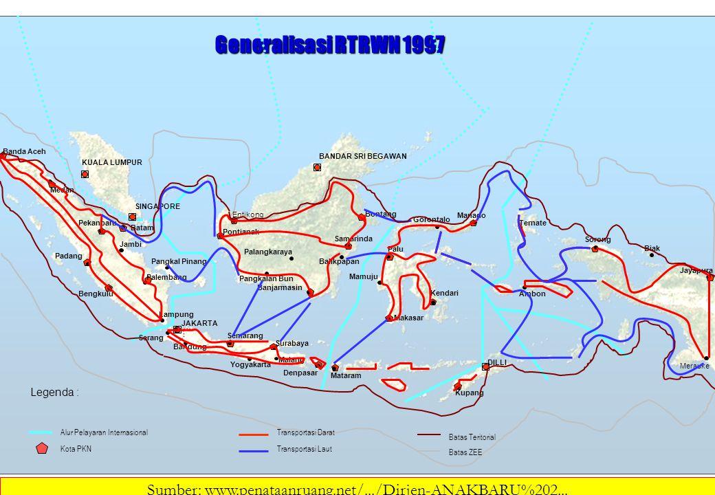 Legenda : Transportasi Darat Transportasi Laut Batas Teritorial Batas ZEE Generalisasi RTRWN 1997 Kota PKN Alur Pelayaran Internasional Bontang KUALA