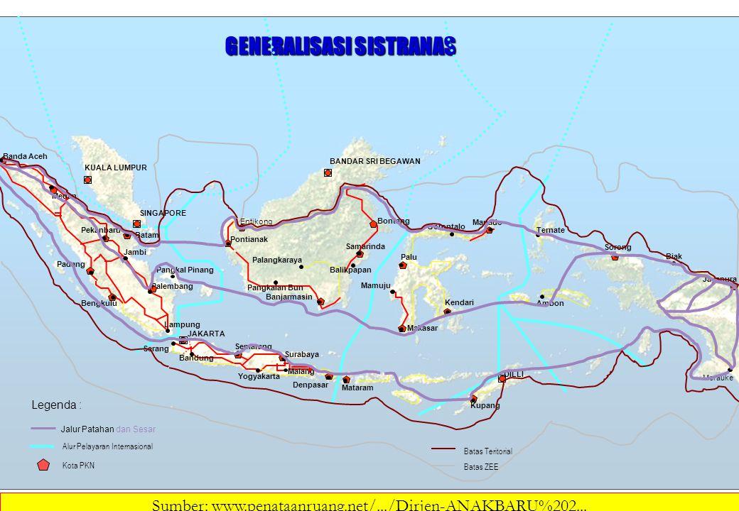 Legenda : Batas Teritorial Batas ZEE GENERALISASI SISTRANAS Kota PKN Alur Pelayaran Internasional Jalur Patahan dan Sesar Bontang KUALA LUMPUR BANDAR