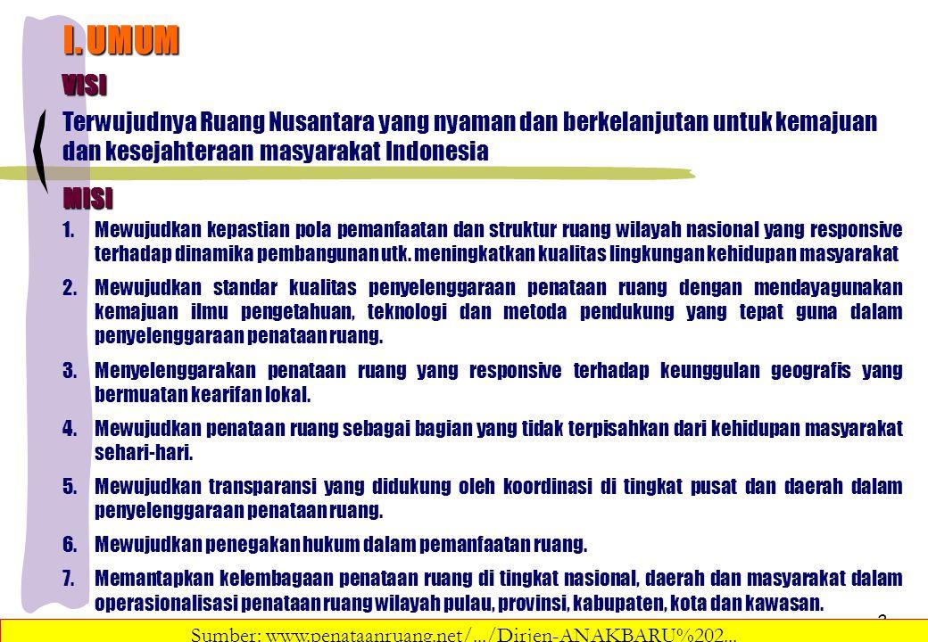 2 I. UMUM VISI Terwujudnya Ruang Nusantara yang nyaman dan berkelanjutan untuk kemajuan dan kesejahteraan masyarakat Indonesia MISI 1.Mewujudkan kepas
