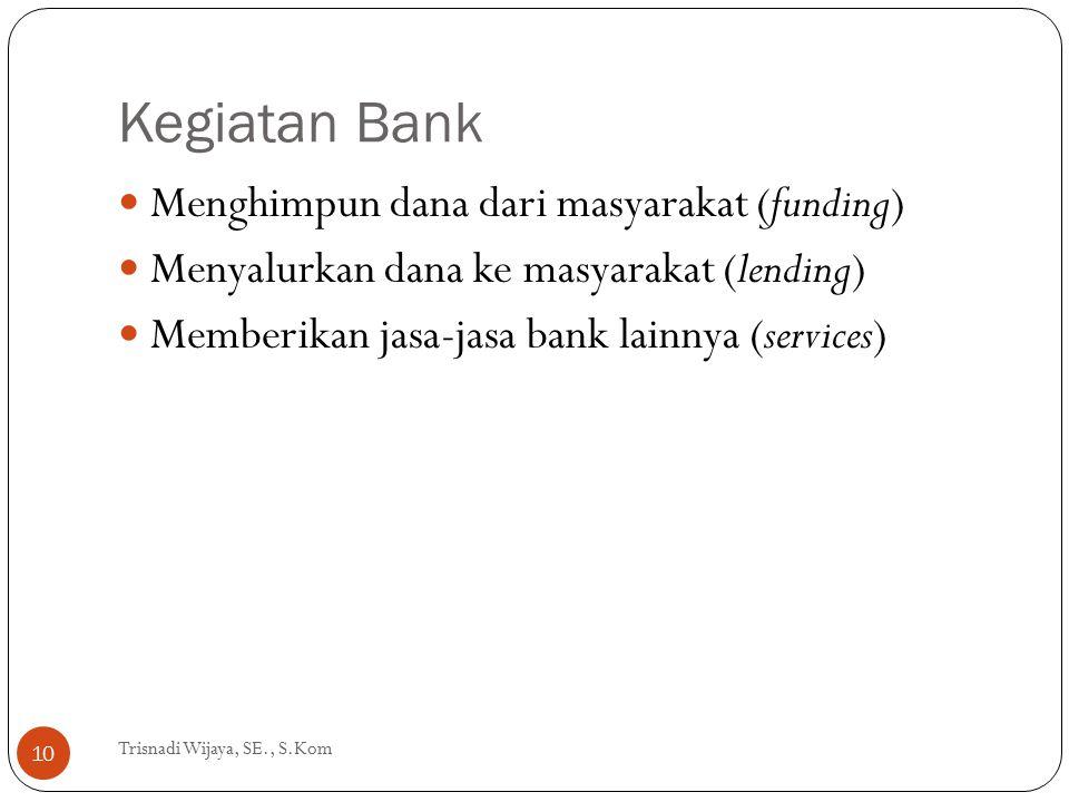 Kegiatan Bank Trisnadi Wijaya, SE., S.Kom 10 Menghimpun dana dari masyarakat (funding) Menyalurkan dana ke masyarakat (lending) Memberikan jasa-jasa b
