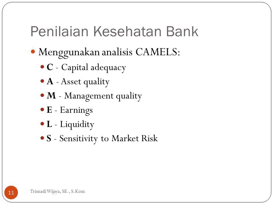 Penilaian Kesehatan Bank Trisnadi Wijaya, SE., S.Kom 11 Menggunakan analisis CAMELS: C - Capital adequacy A - Asset quality M - Management quality E -