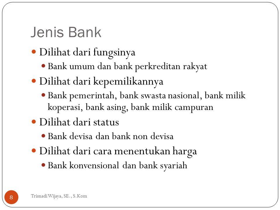 Jenis Bank Trisnadi Wijaya, SE., S.Kom 8 Dilihat dari fungsinya Bank umum dan bank perkreditan rakyat Dilihat dari kepemilikannya Bank pemerintah, ban
