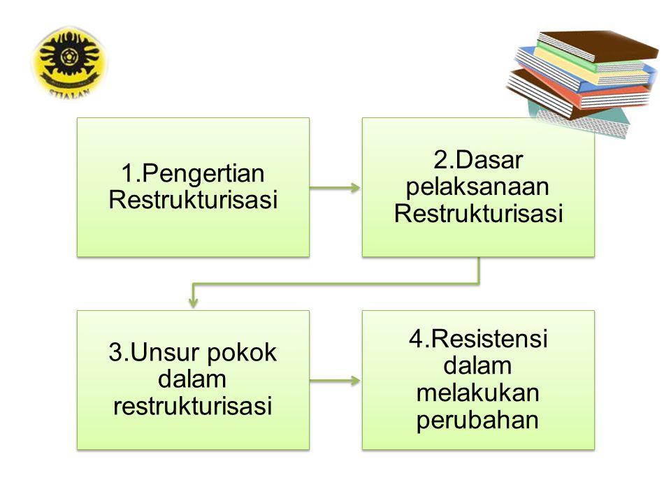 1.Pengertian Restrukturisasi 2.Dasar pelaksanaan Restrukturisasi 3.Unsur pokok dalam restrukturisasi 4.Resistensi dalam melakukan perubahan