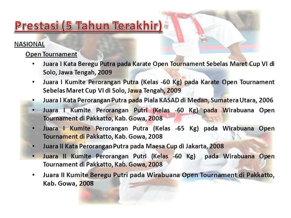 NASIONAL Open Tournament Juara I Kata Beregu Putra pada Karate Open Tournament Sebelas Maret Cup VI di Solo, Jawa Tengah, 2009 Juara I Kumite Perorang